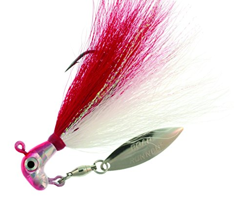 (RoadRunner BP-38-009 Bucktail Pro Jig w/Spinner Chrome Red Head/White)