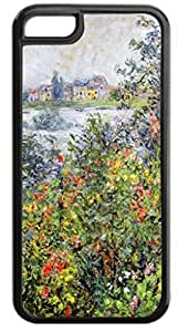 Claude Monet's Flower Beds at Vetheuil- Case for the APPLE iphone 4s ONLY-Soft Black Rubber Outer Case