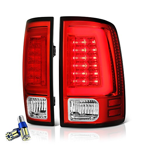 Vipmotoz Premium Oled Tube Tail Light Lamp For 2009 2018 Dodge Ram 1500 2500 3500 Factory Incandescent Model Full Smd Led Reverse Bulbs Rosso Red Lens Driver Passenger Side