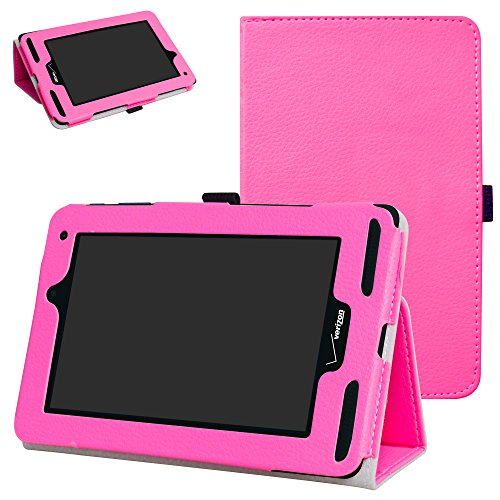 Verizon Ellipsis 7 4g LTE Case,Mama Mouth Slim Folio 2-Folding Stand Case Cover for 7 Verizon Ellipsis 7 4g LTE Tablet Rose Red