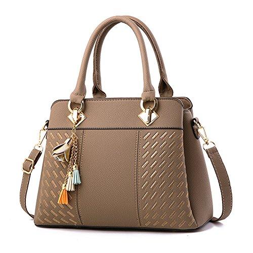 Women's Tote Shoulder Bag from Dreubea, Retro Purse Leather Satchel Handbag Khaki (Tote Retro Leather)