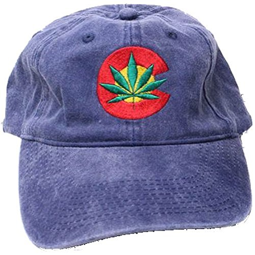 Colorado-Flag-Leaf-Weed-MJ-Ganja-Baseball-Cap-Hats-Cotton-Blend-Blue