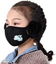 Kids Face Cover with Earflaps Winter Windproof Balaclava Face Cover with Ear Warmers for 5-10Years Old Kids Bo