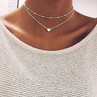 Promsup 925 Silver Gold Heart Choker Chunky Chain Bib Necklace Women Jewelry Pendant GF [ Silver ]