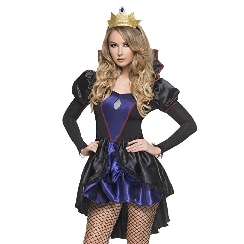 Wicked Queen Sexy Costumes (Mystery House Women's Evil Queen, Black/Purple/Gold, Small)