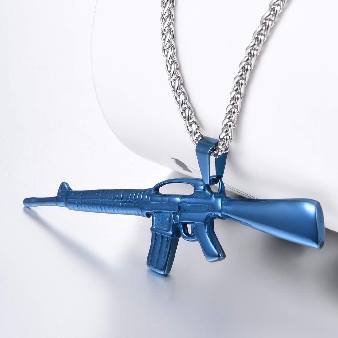 Catena Regolabile U7 Collana Pendente Uomo M16 // AK-47 // Uzi // M9 Fucile Pistola Mitragliatore Argento Blu Nero Oro Stile Hip Hop Cool Swag Acciaio Inossidabile//Placcato Oro con Confezione