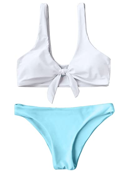 cda6cad9bd ZAFUL Women s 2PCS Swimsuits Knotted Bralette Bikini Top and Bottoms (Blue  and White ...