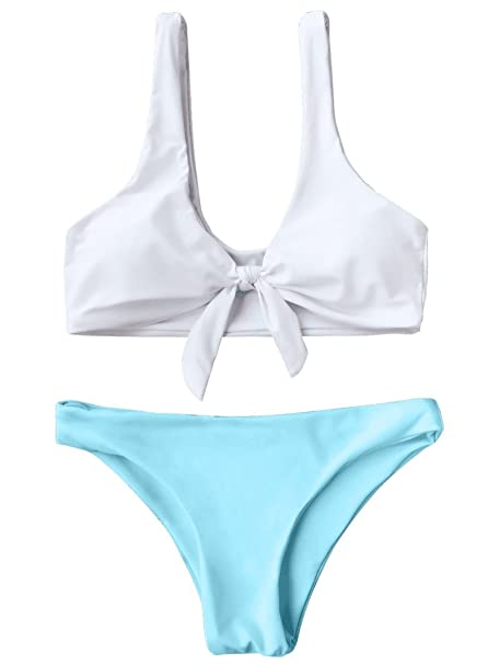 05db0712b ZAFUL Women s 2PCS Swimsuits Knotted Bralette Bikini Top and Bottoms (Blue  and White ...