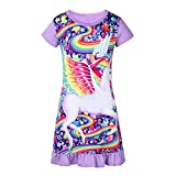 Freebily Kids Girls Short Sleeves Cartoon Pajamas PJS Costumes Nightdress Sleepwear Lavender 2-3