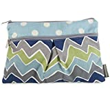 Logan + Lenora Wet/Dry Diaper Clutch Wet Bag Small (Zoom Blue Chevron)