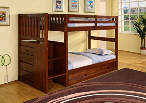 Discovery World Furniture Staircase Bunk Bed with Trundle, T
