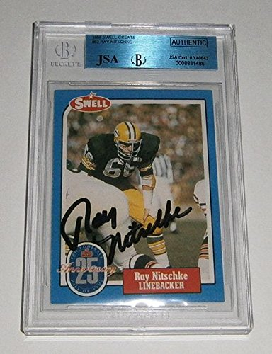 Ray Nitschke Green Bay Packers - PACKERS Ray Nitschke signed card 1988 SWELL AUTO Slab Autographed Green Bay - JSA Certified - NFL Autographed Football Cards