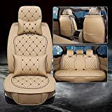CAR 5 Pcs Pu Leather Univeral Car Seat Covers Fit For Most Car Seat , beige