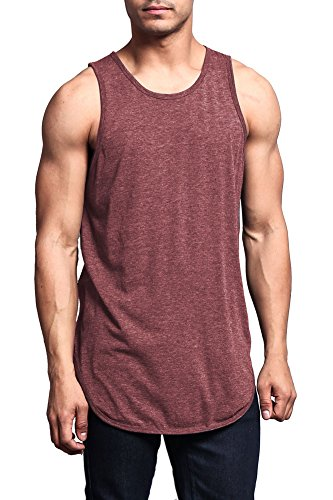 Victorious Solid Color Long Length Curved Hem Tank Top TT47 - Burgundy - 3X-Large - A4D