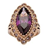 Palm Beach Jewelry Marquise-Cut Amethyst Cubic Zirconia Rose Gold Ion-Plated Cocktail Ring