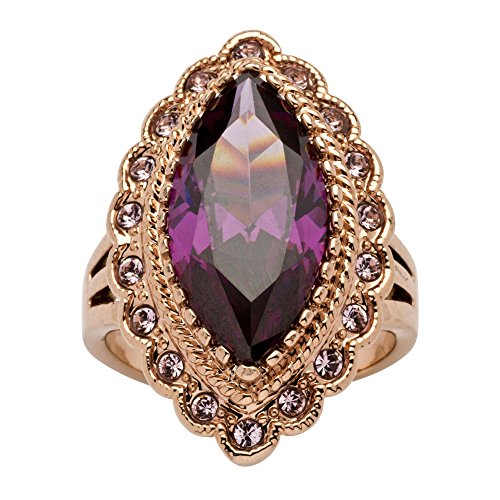 Palm Beach Jewelry Marquise-Cut Amethyst Cubic Zirconia Rose Gold Ion-Plated Cocktail Ring Size 10