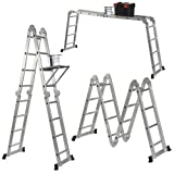 Keraiz 14-in-1 (15.5ft) 4.7m Folding Multi Ladder with 2 Scaffold Working Plates and 1 Tool Tray Manufactured to EN131 Part 1 and 2 Specifications