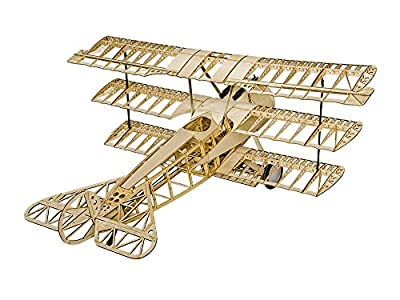 "Balsawood Airplane 61"" Fokker DR.I Triplane Laser Cut Model Kit ;1.54M Wooden Building Triplane Fokker DR.1 Electric & Gasoline powered Flying Model KIT to build for Adults by DW Hobby"