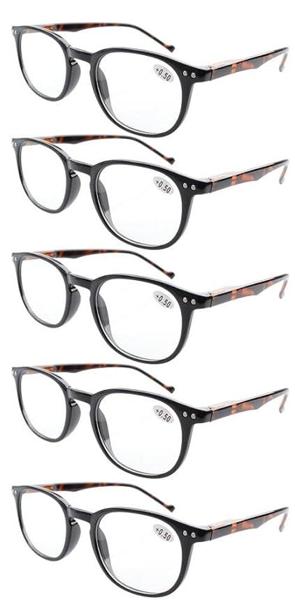 Pack de 5 primavera bisagras estilo lectura gafas sol lectores (Marco negro-Brazo de tortuga, +2.00)