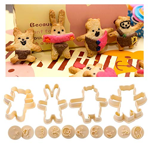 Bunny & Bear shape Cookie Cutters, 14 Piece Set - 4pcs Body with 10pcs Emoji Stamps