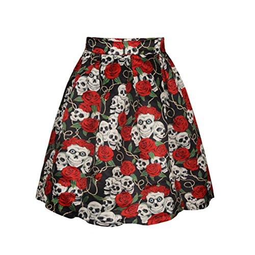 Haute Grande Taille Comme Imprim Jupe Plisse Mi Vintage Gothique Montr Taille FuweiEncore Jupe Longue Femme Evase 4qH77wX