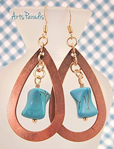Turquoise Natural Stone and Copper Tear Drop Rose Gold Dangle Earrings by ArtsParadis - Turquoise Tear