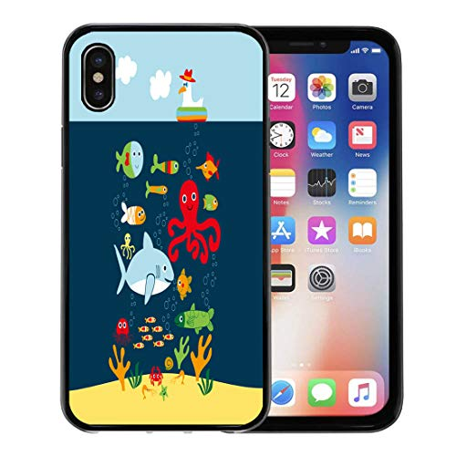 (Semtomn Phone Case for Apple iPhone Xs case,Colorful Shark Marine Life Creatures Underwater Animals Crab Cute Sea for iPhone X Case,Rubber Border Protective Case,Black )