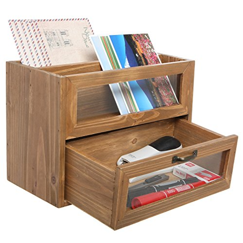 Natural Unfinished Wood Mini Office Supply Storage Cabinet/File Letter Desktop Organizer - MyGift Home