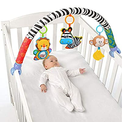 Newborn Clip Hanging Bed Plush Toy, Cute Cartoon Design Baby Pushchair Hanging Ringing Bell Pram Car Rattle Activity Toy for 0-3 Years Old : Baby