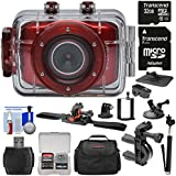 Vivitar DVR783HD HD Waterproof Action Video Camera Camcorder (Red) with Helmet, Bike, Suction Cup & Dashboard Mounts + 32GB Card + Case + Selfie Stick + Kit