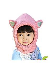 Beanie Scarf Ear Flap Hood Hat Children Kids Baby Boys Girls Winter Ski Knitted Cap