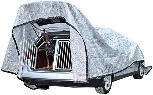 Rosi's Barf-Glück XL Auto Schattennetz für Hunde 600x400cm – Alu 85% UV Sonnenschutz Hitzeschutz Haube Auto – Alunetz Reduziert Hitze im Auto