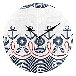 Ladninag Wall Clock Vintage Anchor and Wheel Inverted Silent Non Ticking Decorative Round Digital Clocks for Home/Office/School Clock