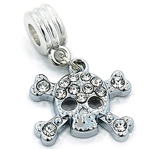 Pro Jewelry Dangling Crystal Skull & Crossbones Charm Bead Compatible with European Snake Chain - Crossbones Slide Charm