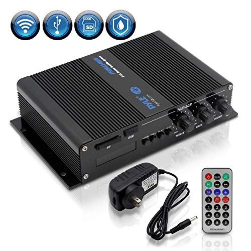 (Pyle Home Marine Car Amplifier - 2-Channel Bridgeable Compact 200 Watt RMS 4 OHM Full Range Monoblock Stereo & Waterproof - Wireless Bluetooth Receiver Audio Speaker w/ LCD Digital Screen (PFMRA340BB))