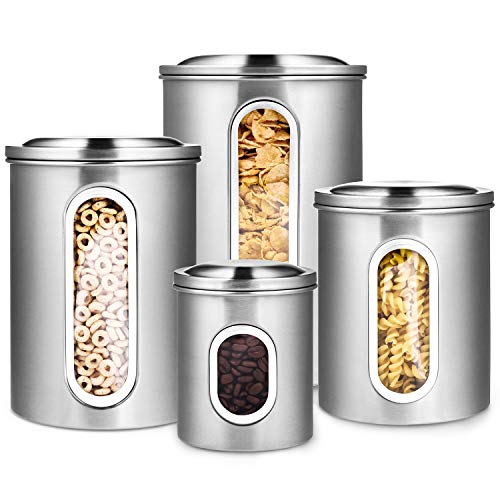 (Deppon 4-Piece Canister Set Stainless Steel with Airtight Lids and Plexi-Glass Window Large for Flour Sugar Tea Coffee Nuts Food Storage (Silver))