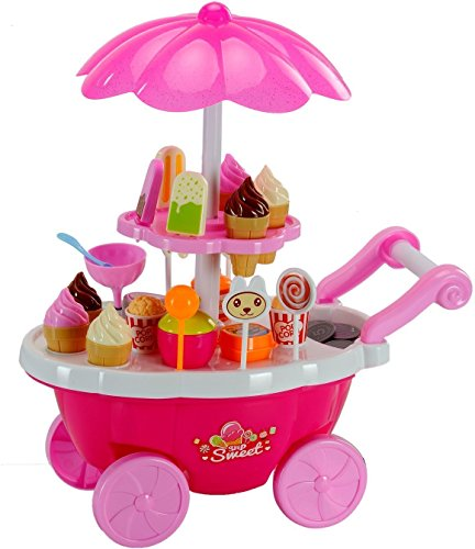 Toyshine Ice Cream Kitchen Play Cart Kitchen Set Toy with Lights and Music, Small