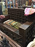 Antique Diwan Indian Bench Teak Sofa Hand Carved Iron Patina Squares Industrial Storage Vintage Eclectic Dark wood Hand crafted