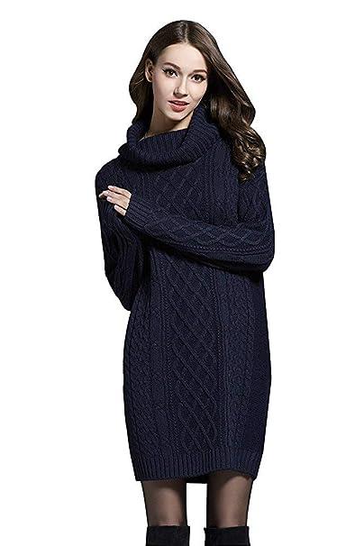 RIZ-ZOAWD Mujer Vestido De Punto Manga Larga Jersey Cuello Alto Otoño Invierno Elasticidad Termica Knit Mini Vestido Suéter De Punto Sweater Unicolor Color ...