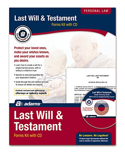 Adams Last Will and Testament Kit, Forms and Instructions...