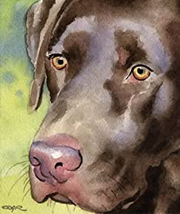 "Amazon.com: ""Chocolate Lab"" Dog Art Print Signed by Artist"