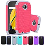 Moto E (2nd Gen) Case, LK [Shock Absorption] Hybrid Dual Layer Armor Defender Protective Case Cover for Motorola Moto E (2nd Generation) (Rose Pink)