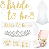Bachelorette Party Bride To Be Decorations Kit - Bridal Shower Supplies | Sash For Bride, Rhinestone Tiara, Gold and Silver Banner, Veil + Bride Tribe Flash Tattoos - Bonus Snapchat Filter Design