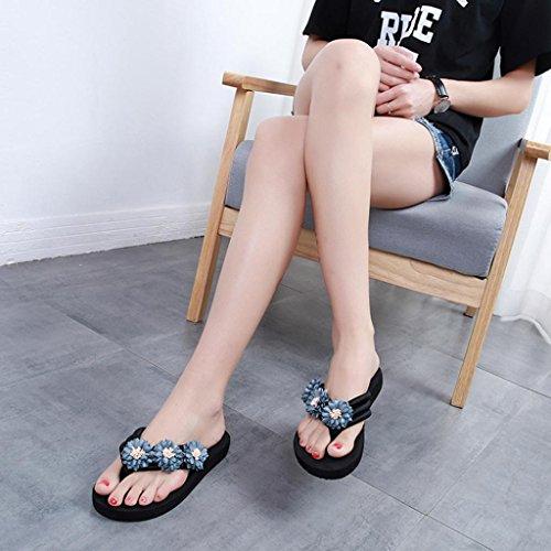 Anti Women Flower Elegant Summer Heel Gray Flip Skidding Slipper HLHN Sexy Sandals Shoes Beach Flat Flops wTqYdxt