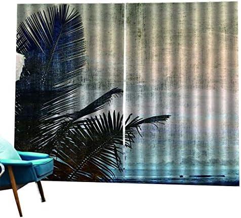 QinKingstore ココナッツツリーパターンプリント遮光カーテン用リビングルーム寝室ホームホテル窓カーテン高精度