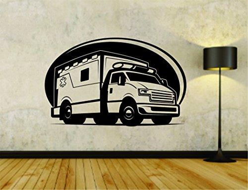 Ambulance Van - Ambulance Truck Van Emergency Vehicle Vinyl Decal Sticker Wall Boy Girl Ambulance01OCC4 18x28