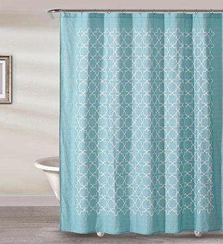 Style Quarters SOPHIA TILE - AQUA Shower Curtain - White Geometric Quatrefoil Pattern on Aquarium Color Ground - 100% Cotton - Buttonhole - Machine Washable - 1pc - 72