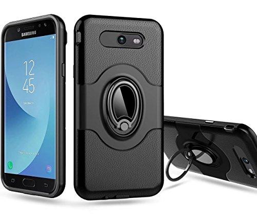 (Samsung Galaxy J7 V / J7 2017 / J7 Prime / J7 Perx / J7 Sky Pro/Galaxy Halo Case, Ranyi [Full Body Ring Armor] [Shock Absorbing] [Kickstand Feature] Hybrid Dual Layer 360 Protective Case (Black))