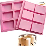 2 Pack 6 Cavities Silicone Soap Mold, 6 Cavity DIY Soap Molds, Rectangle Baking Mold Cake Pan Biscuit Chocolate Mold, Ice Cube Tray, Premium Silicone Soap Bar and Resin Mold for Homemade Craft