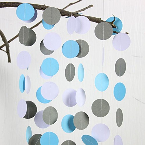 2 Sets of BCopter 6.5 Ft Party Decoration Favor Circle Dots Paper Garland Backdrop Hanging Décor Blue White Grey Boy Baby Shower Birthday